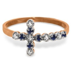 GOLD CROSS RING WITH DIAMONDS & SAPPHIRES